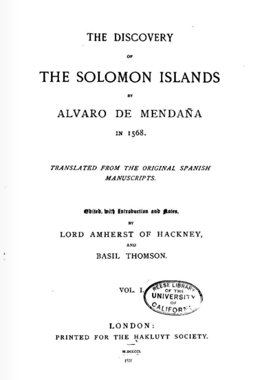 The Discovery of the Solomon Islands