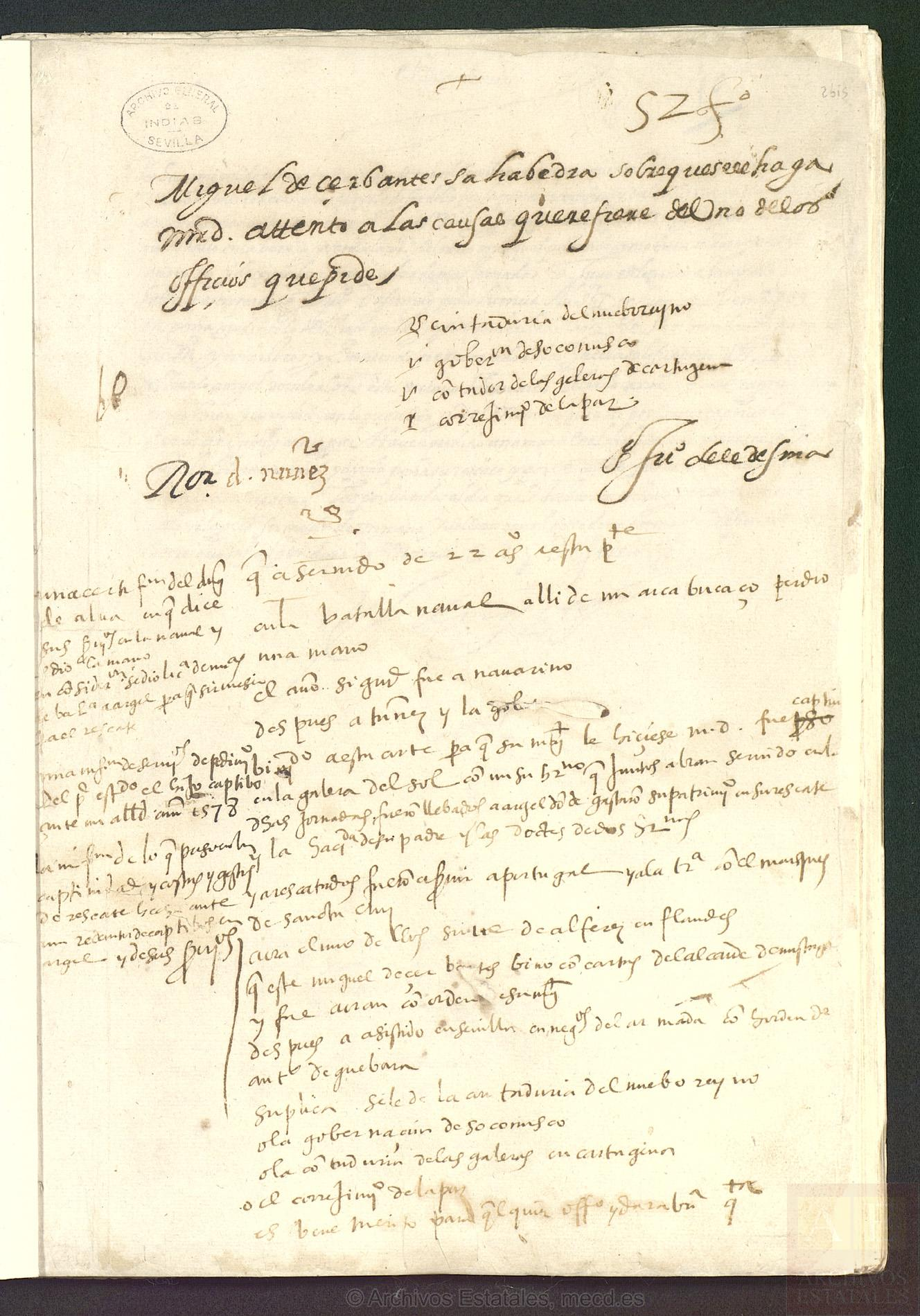 Record on the merits and services of Miguel de Cervantes Saavedra