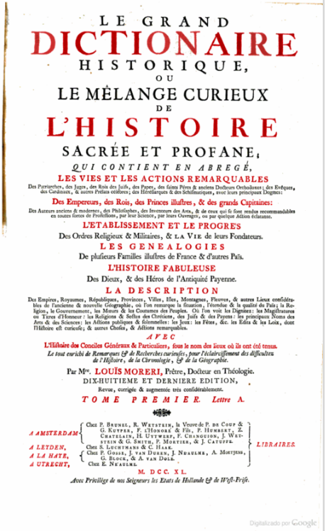 Historical Dictionary by Luis Moreri (1740)