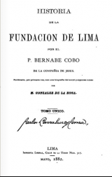 History of the foundation of Lima, Bernabé Cobo