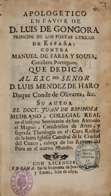 Apologetic in favor of Don Luis de Góngora de Espinosa Medrano (El Lunarejo)